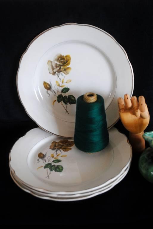 lot de 4 assiettes plates Sarreguemines | Puces Privées