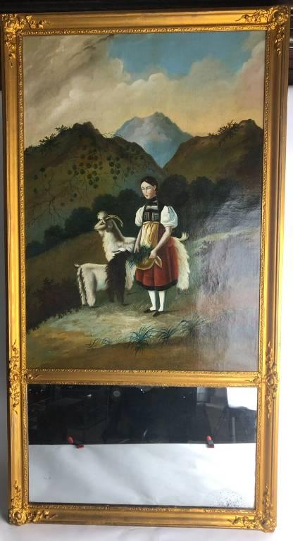 Trumeau avec peinture scène bucolique fin XIXE | Puces Privées