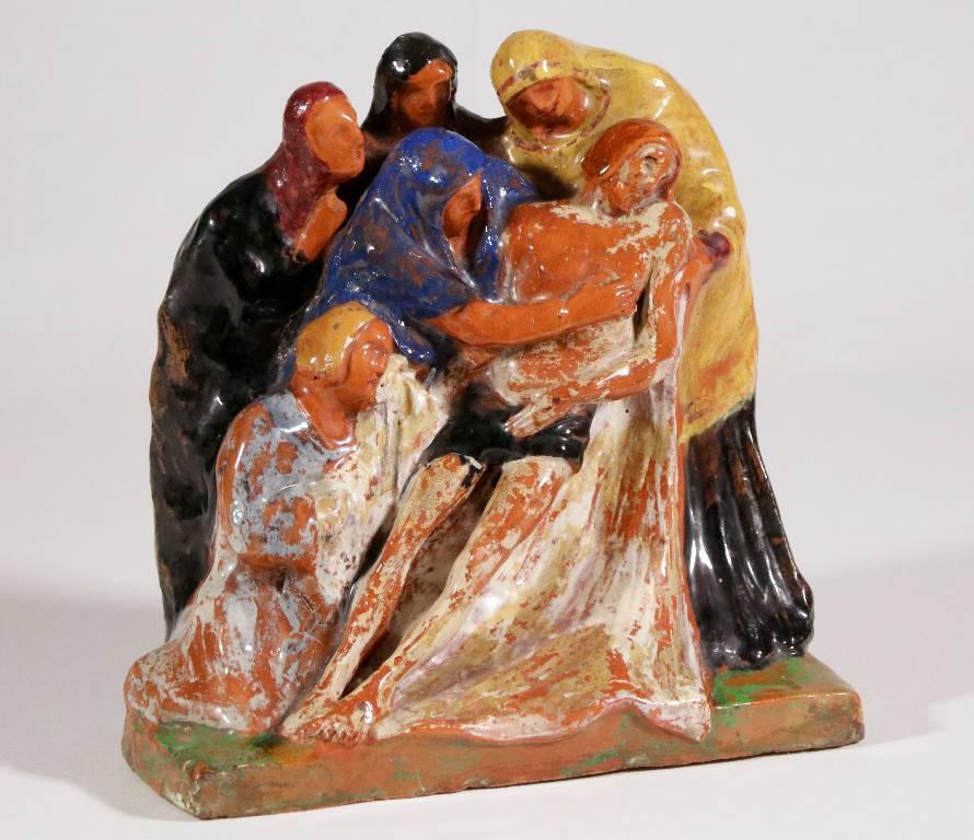 Groupe Terre cuite polychrome émaillée scène religieuse 1934 signé   Puces Privées
