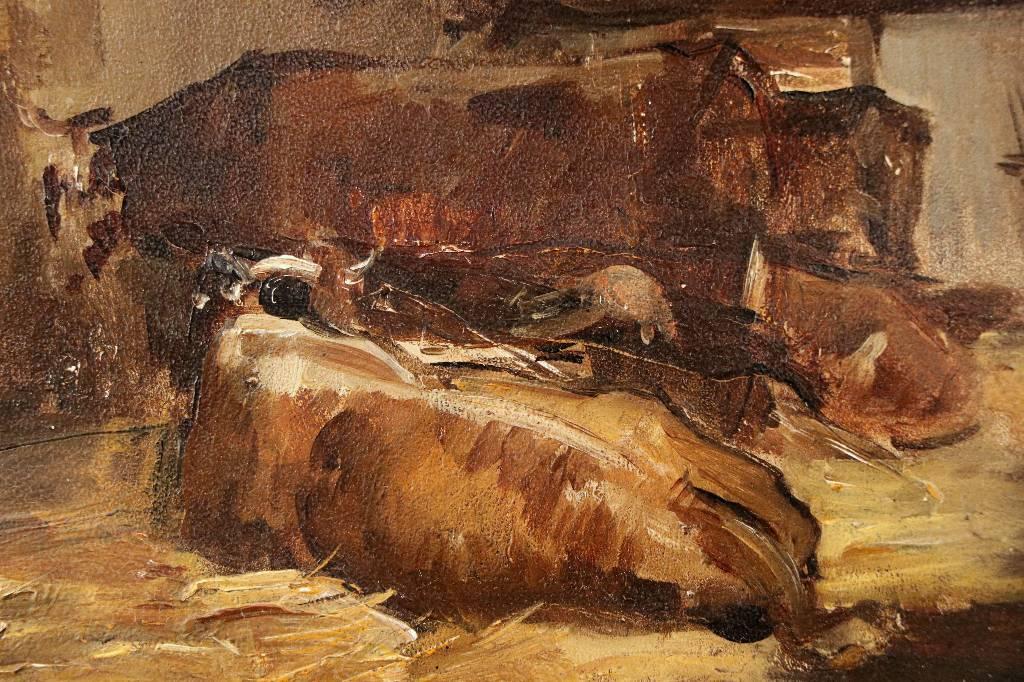 Étude de vaches étable de Beausoleil fin 19ème postimpressionniste | Puces Privées