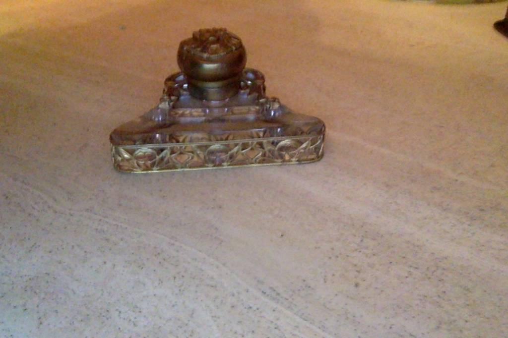 Encrier bronze et cristal   Puces Privées
