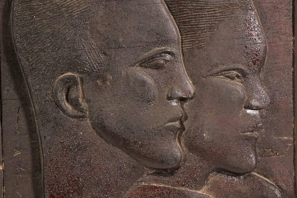 Sculpture bas relief bois signé Art Déco 1920/30 | Puces Privées
