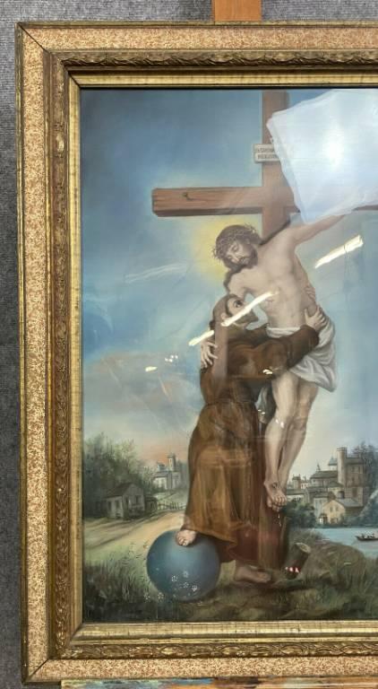 École Française du XIXeme  Magnifique pastel figurant le Christ en croix  situé et daté 1896 | Puces Privées