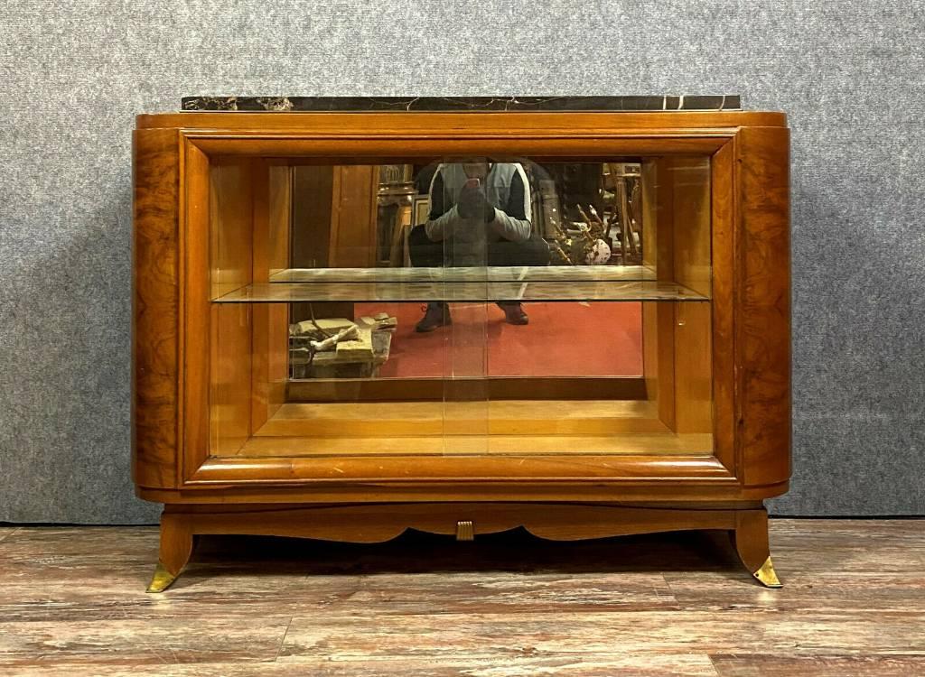 D'après Ruhlmann  Magnifique bibliothéque de salon époque Art Déco en noyer blond | Puces Privées