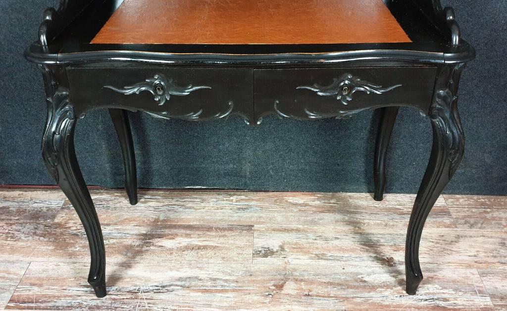 Magnifique bureau bonheur du jour Boulle époque Napoléon III de forme violonée en bois noirci   Puces Privées