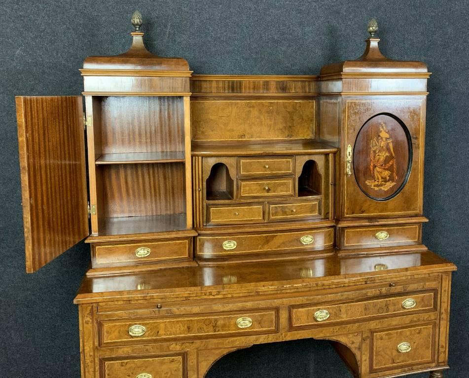 Majestueux bureau cabinet Empire en loupe d'Amboine, manguier et citronnier. | Puces Privées