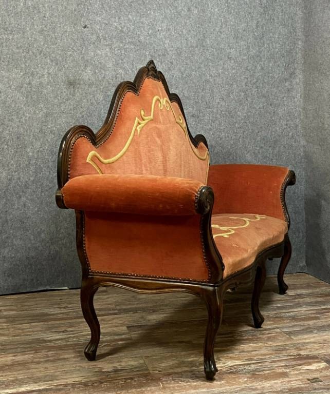 Rare canapé Italien (Lombard) Louis XV Baroque a haut dossier en noyer.   Puces Privées