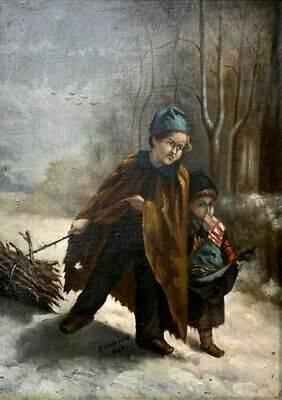 Aline Jauzion 1880  les enfants au fagot de bois huile sur toile   Puces Privées