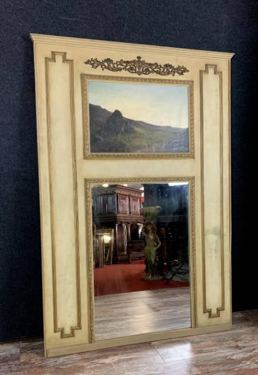miroir trumeau Louis XVI en bois laqué et doré vers 1880-1900 | Puces Privées
