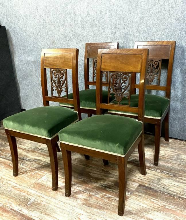 Rare série de 4 chaises époque Empire vers 1810 en acajou | Puces Privées