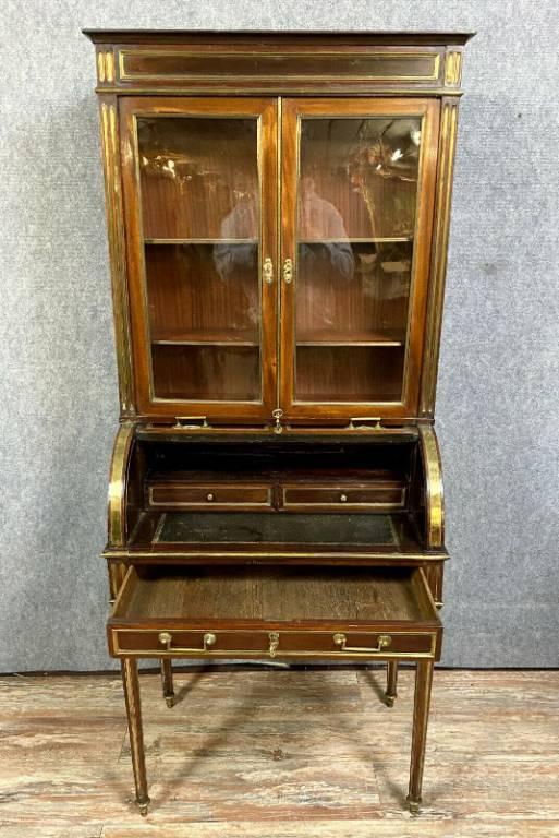 Muséal bureau cylindre a bibliothéque époque louis XVI en acajou vers 1760   Puces Privées