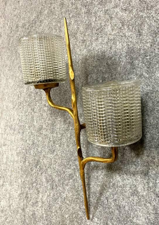 Félix Agostini pour la Maison Arlus Suite de deux appliques en bronze doré présentant deux bras de lumière s | Puces Privées