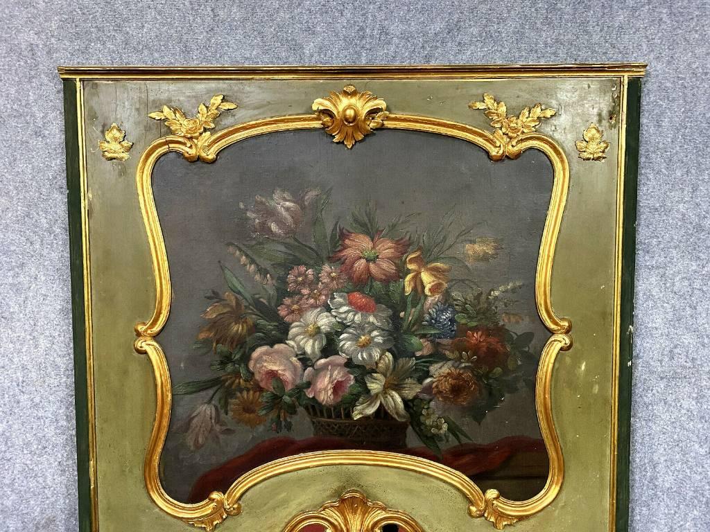 Très important miroir trumeau Louis XV en bois doré et laqué vers 1850 | Puces Privées