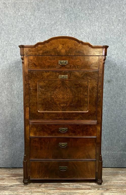 Superbe secrétaire époque Biedermeier en ronce de noyer vers 1800-1820 | Puces Privées