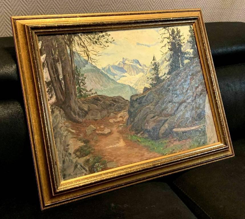 Henri Edouard HUGUENIN-VIRCHAUX (1878-1958)  huile sur toile vue des Alpes depuis un sentier forestier   Puces Privées