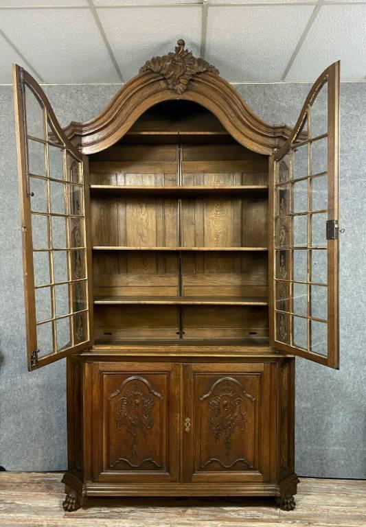 Importante bibliothéque de château époque Louis XV en chêne massif a patine blonde | Puces Privées
