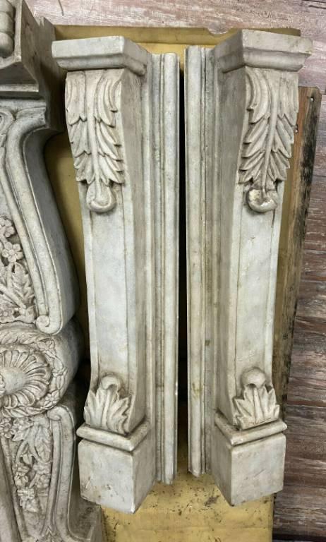 Magnifique cheminée Louis XV en marbre blanc de Carrare vers 1880. | Puces Privées