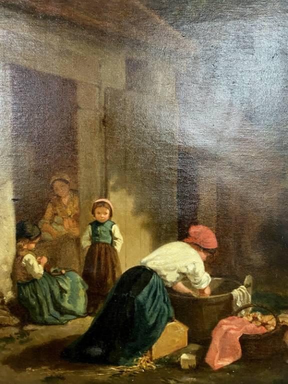 École Française du XIXeme siècle  Scène d'extérieur en milieu rural la lessive  Huile sur Toile   Puces Privées