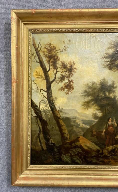 École Flamande du XIXeme siècle  grande huile sur toile figurant une scène animée de personnages et animaux | Puces Privées