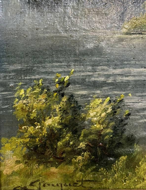 École Française XXe  huile sur panneau paysage lacustre  L'île de l'Épinette vers 1940   Puces Privées