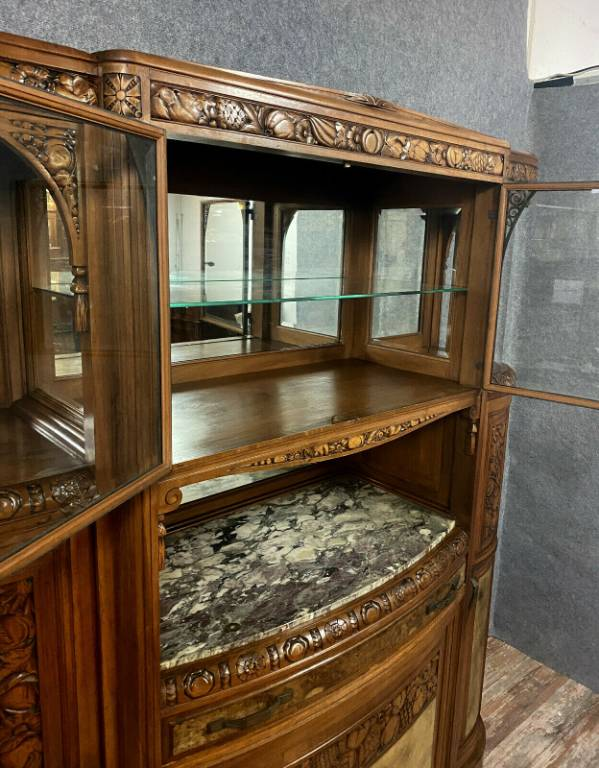 Important et magnifique buffet bibliothéque époque Art Déco de forme demie lune en noyer et loupe | Puces Privées