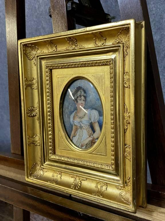 École Française XIXeme  paire d'aquarelles de qualité dans de superbes cadres dorés a palmettes   Puces Privées