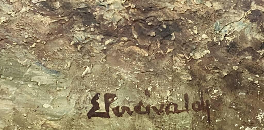 École Italienne XXeme - grande Huile sur panneau figurant un paysage hivernal animé signé Ettore PERCIVALDI | Puces Privées