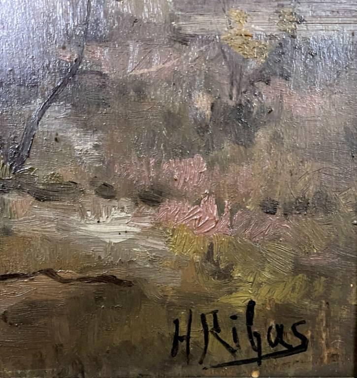 École Française 1900 - huile sur panneau de H. Ribas  promenade en foret de Blois | Puces Privées