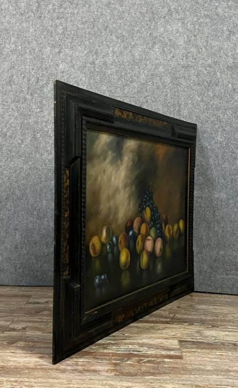École Italienne XXeme - grande Huile sur toile figurant une nature morte aux fruits signée Piero NARDI (1938) | Puces Privées