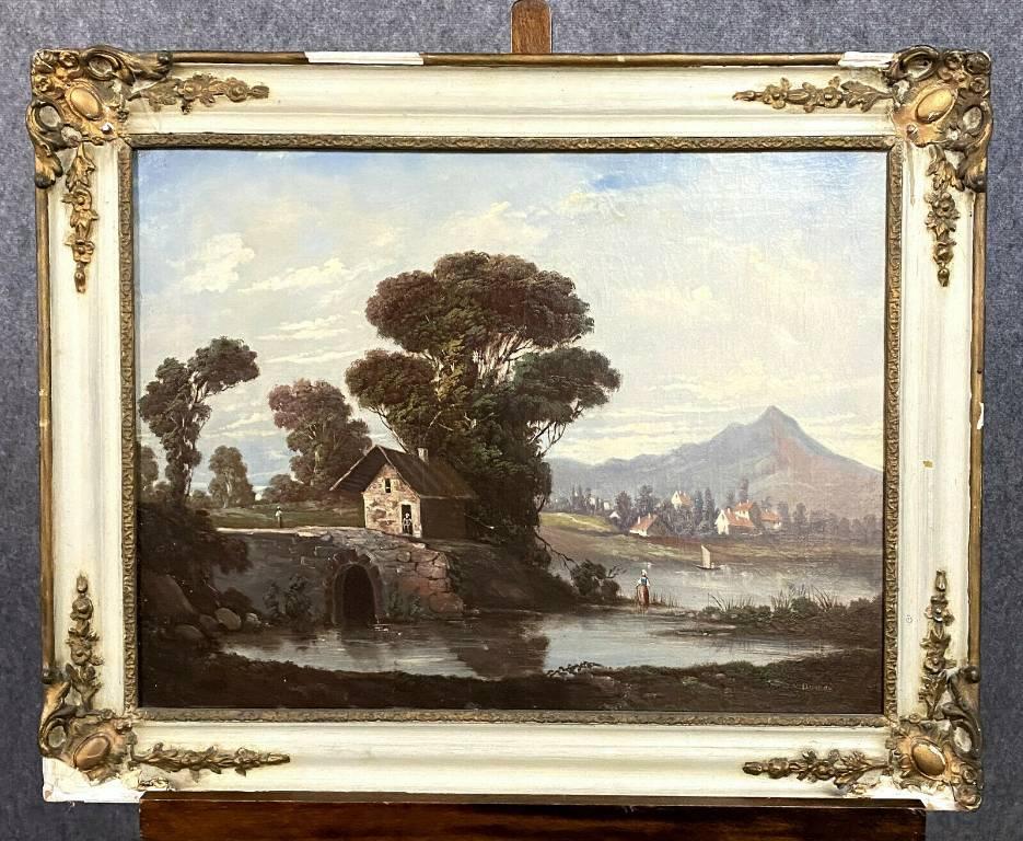 École Française XIXeme - Huile sur toile figurant un paysage animé signé Durand (1838-1896) | Puces Privées