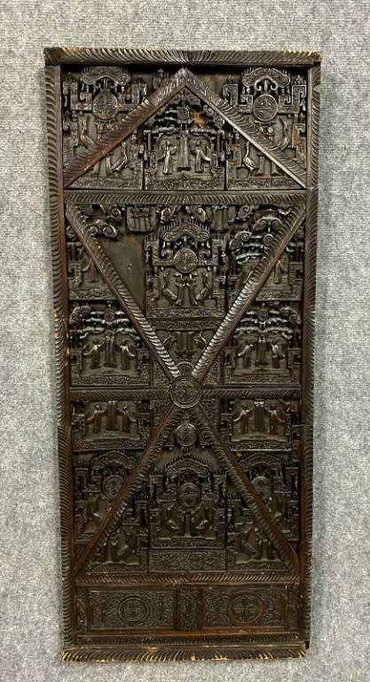 Asie XIXeme  Rare paire de grands panneaux de boiserie en bois exotique entièrement sculptés   Puces Privées