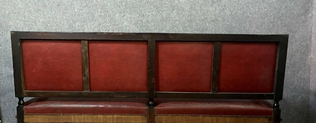 Très Importante banquette de Château époque Napoléon III en poirier noirci et cuir   Puces Privées