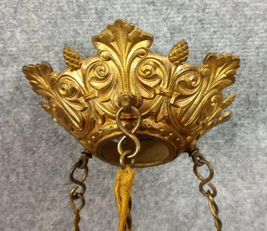 Rare pendant de lustres d'église en bronze et laiton doré époque Napoléon III   Puces Privées