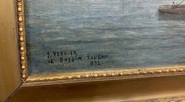 Jules VERNIER (1862-1937)  le Bassin de Vauban 1892, huile sur toile signée et datée | Puces Privées