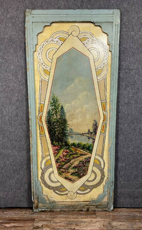 Rare série de 5 grands panneaux de ciel de Carrousel ( manège de chevaux ) époque Art Nouveau | Puces Privées