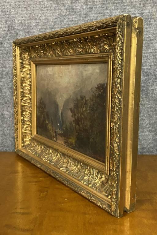 Pendant de tableaux ( huile sur panneau XIXeme ) vue des Alpes en automne et en hivers. | Puces Privées