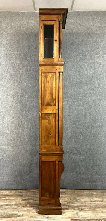 Superbe et grande horloge de parquet époque Empire en noyer massif vers 1800   Puces Privées