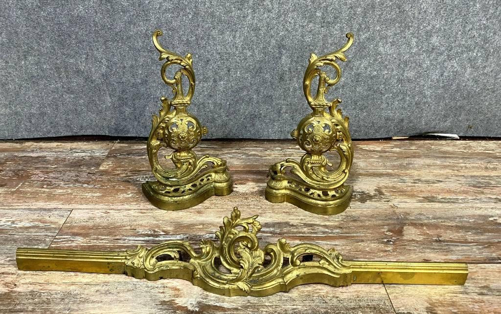 Magnifique pendant de devants de cheminées Louis XV en bronze doré vers 1850 | Puces Privées