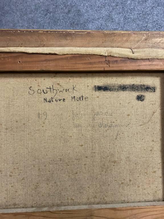 Grande huile sur toile époque XIXeme  nature morte aux fleurs, fruits et livre ouvert  Signature de Southwick | Puces Privées