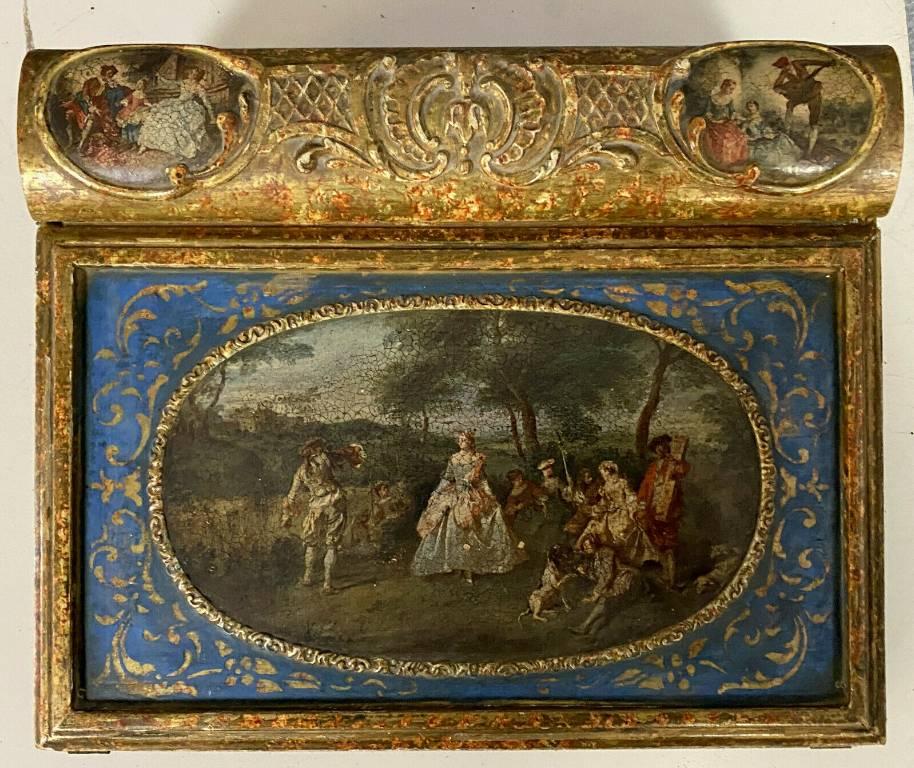 Très rare écritoire de voyage époque consulat en bois laqué et doré vers 1795 | Puces Privées