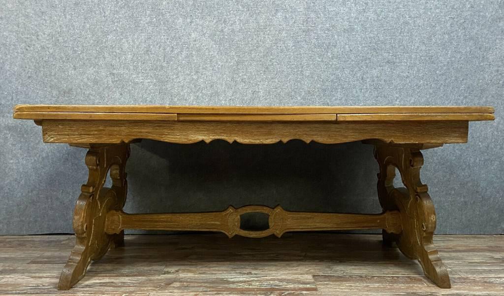 Grande Table a allonges Renaissance En chêne d'Asie brossé et polychromie | Puces Privées