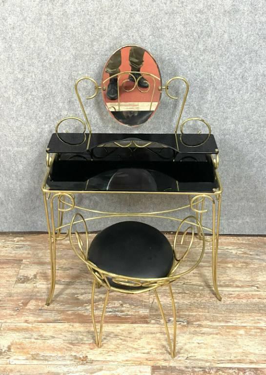 Insolite coiffeuse de Dame époque post Art Déco en laiton doré vers 1940-1950 | Puces Privées