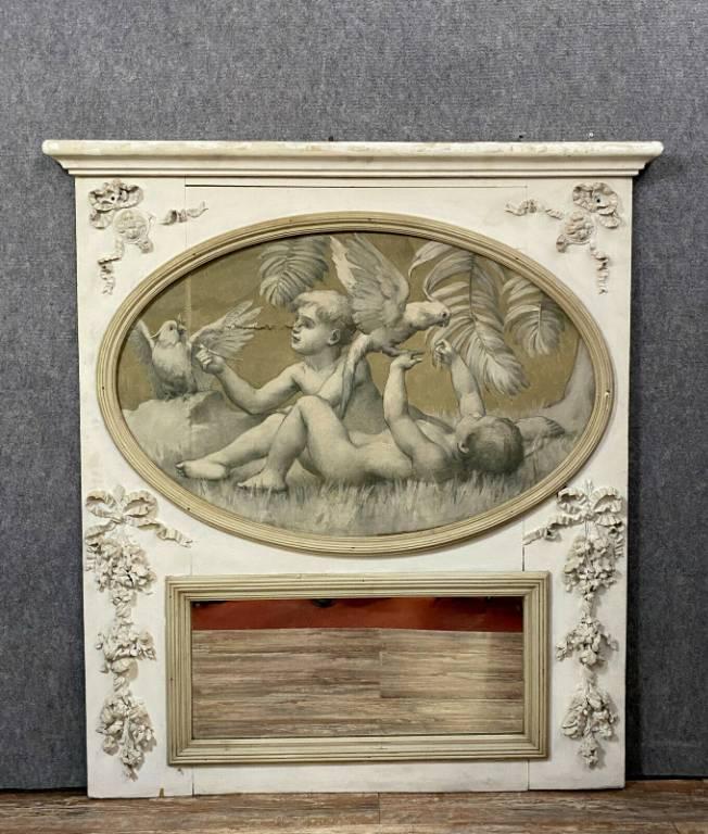 Très important miroir de boiserie en trumeau époque Louis XVI en bois laqué vers 1780 | Puces Privées