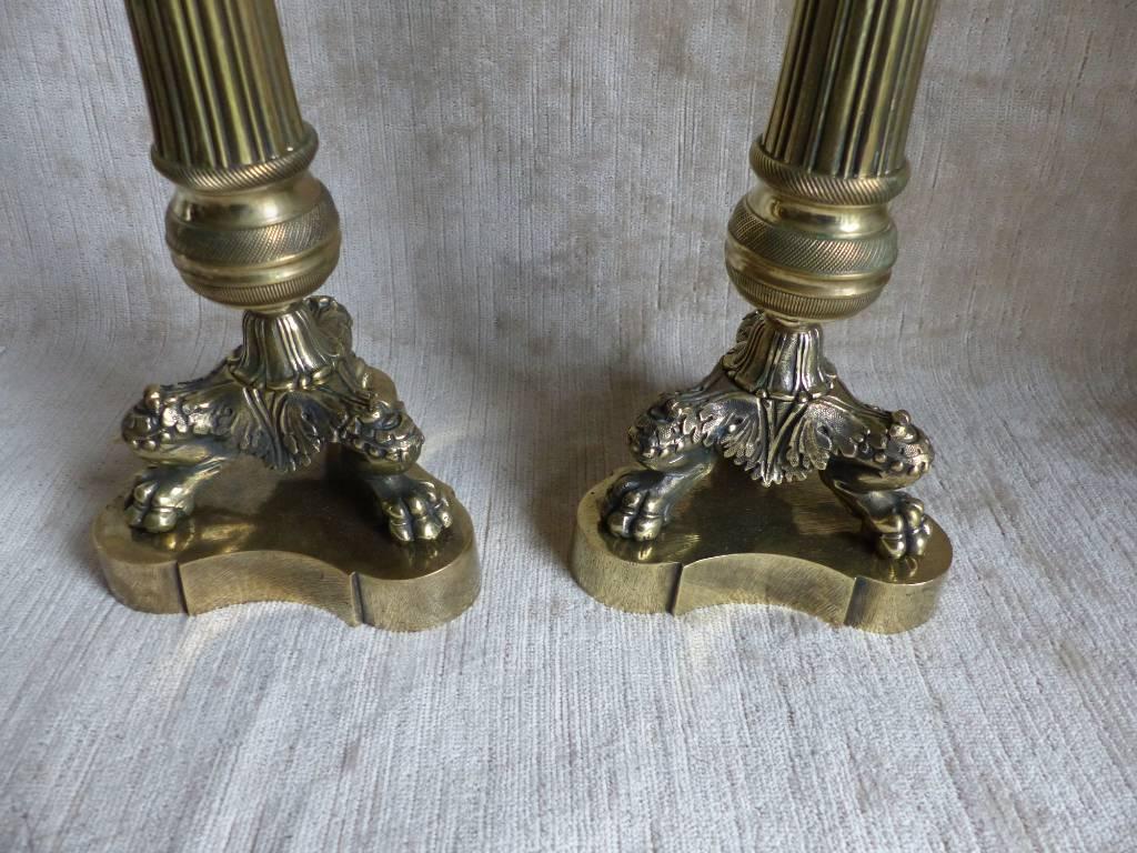 No - 442 -   Paire de bougeoirs en bronze époque  RESTAURATION | Puces Privées