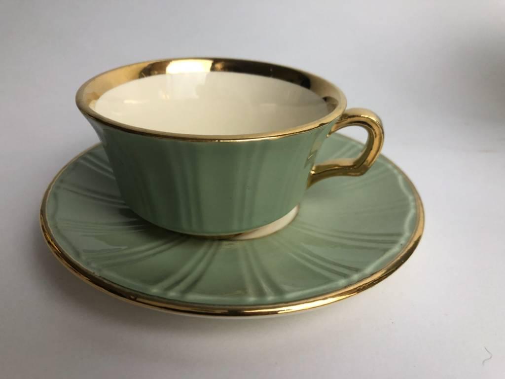 Service a café Vintage années 60 -vert céladon et or - duo ou tête à tête | Puces Privées