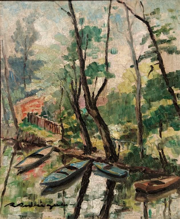 RODRIGUE (XXème), La barque bleu, Huile sur toile signée | Puces Privées