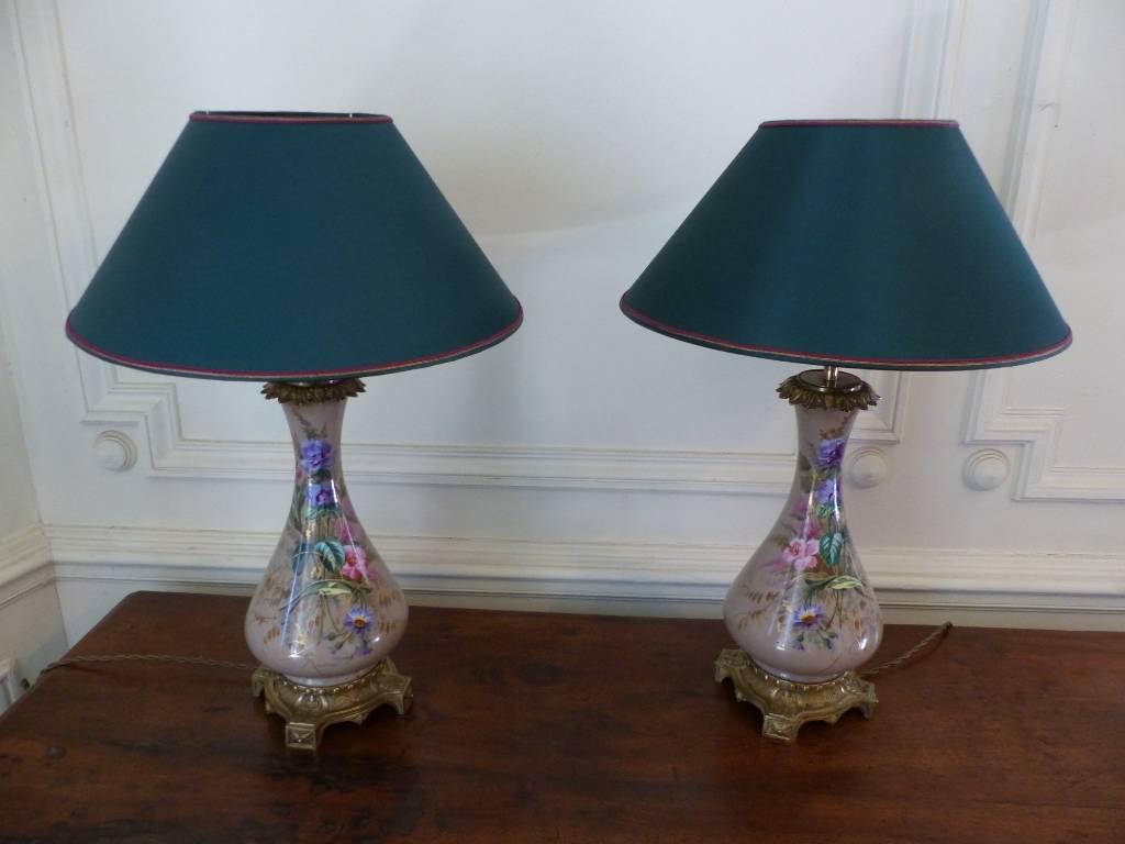 No -  451 - Paire de lampes en porcelaine montées bronze époque 19 ème | Puces Privées