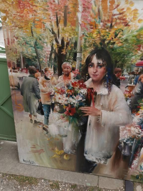 No - 457 - Huile sur toile -  Marché aux fleurs  grande dimensions  120cm X 150 cm   Puces Privées