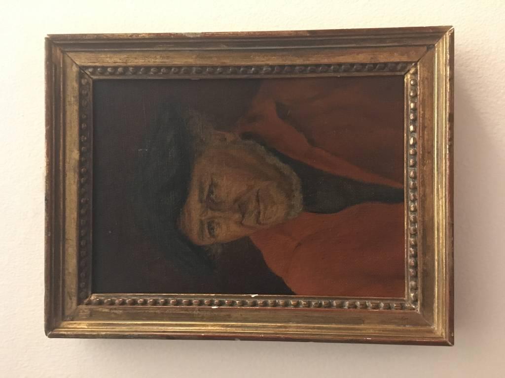 Portrait huile sur carton | Puces Privées