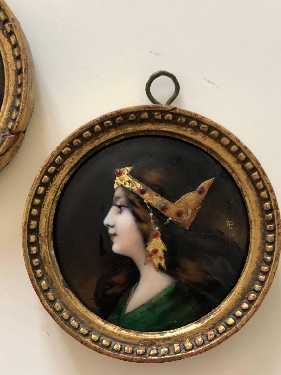 ANCIENNE PAIRE DE MINIATURES EN EMAUX DE LIMOGES ART NOUVEAU | Puces Privées